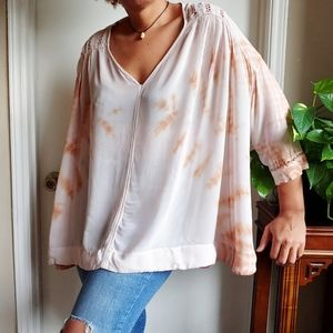 Free People Tie Dye Me Down Oversized Boho Blouse